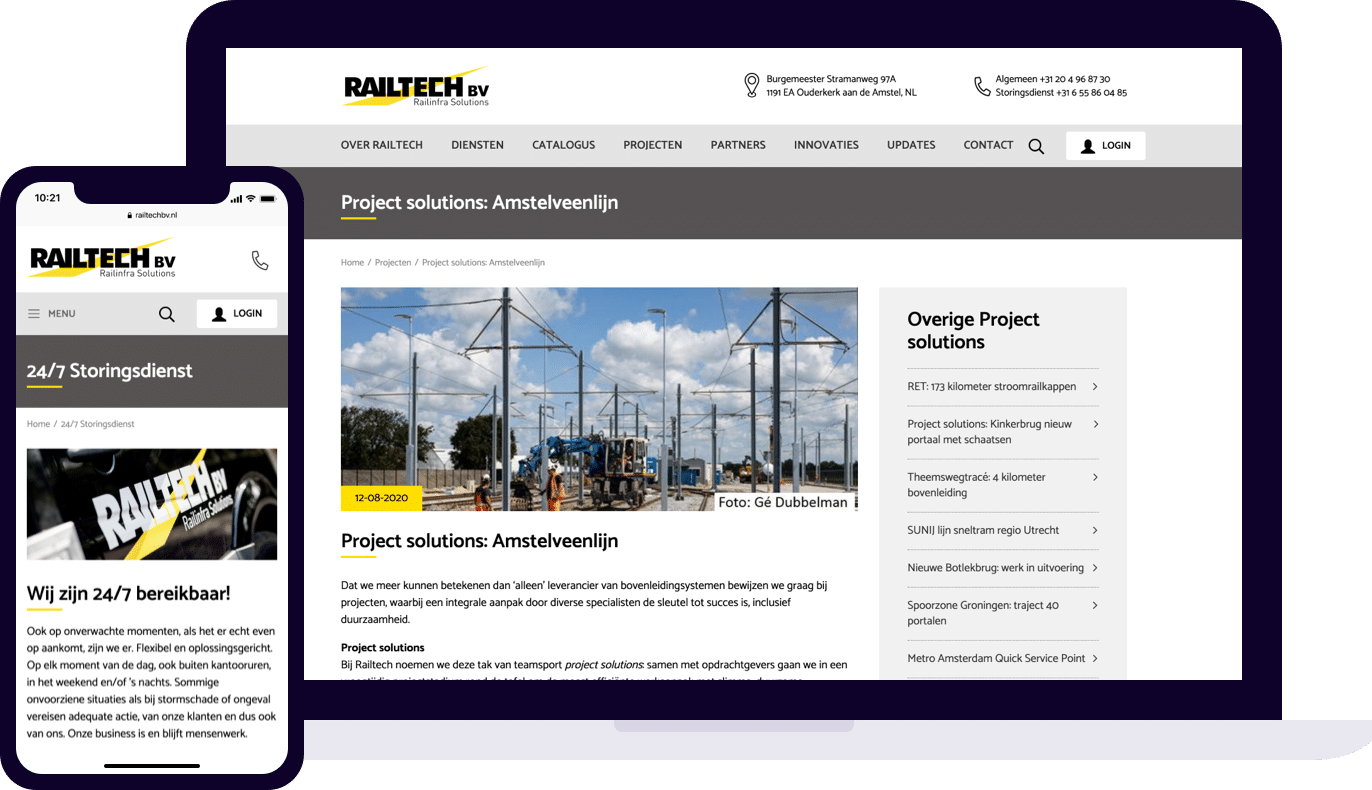 Railtech website desktop