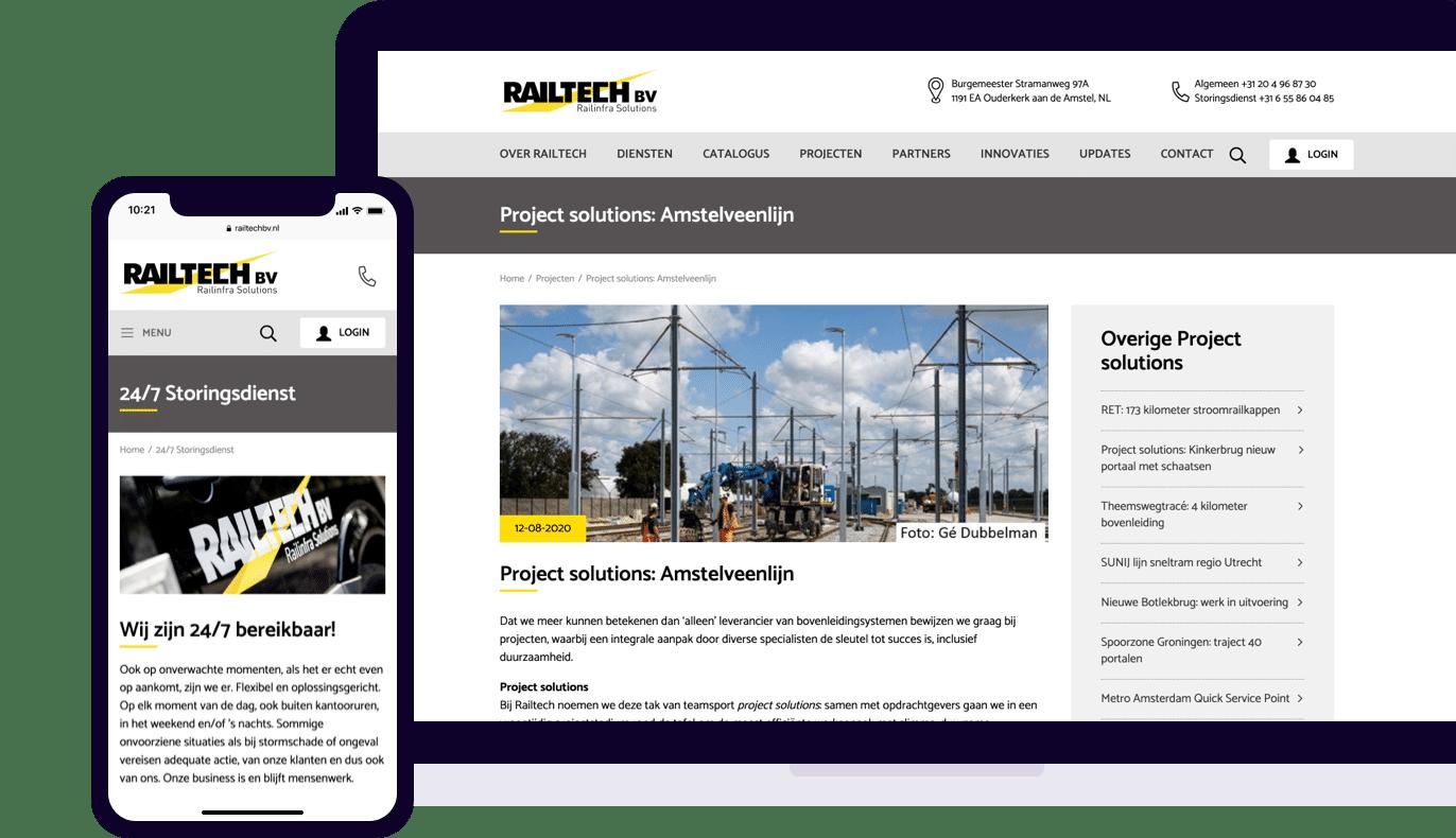 Railtech website mobile